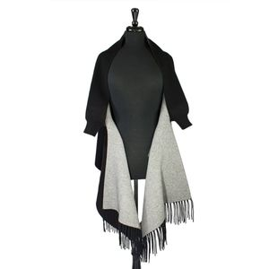 Sweaters - Black Knit Double Sided Wrap with Fringe